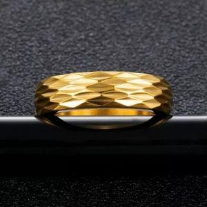 New Women men stainless Steel gold band ring